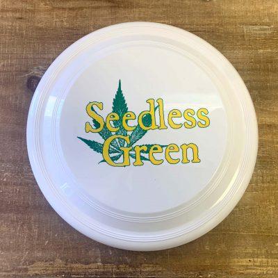White Frisbee with Seedless Green Logo